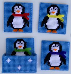 This fun Penguin coaster set is sure to add some fun to your table. Made with plastic canvas and worsted weight yarn. Plastic Canvas Coasters, Plastic Canvas Ornaments, Plastic Canvas Tissue Boxes, Plastic Canvas Crafts, Free Plastic Canvas Patterns, Plastic Canvas Christmas, Canvas Designs, Canvas Ideas, Needlepoint Patterns