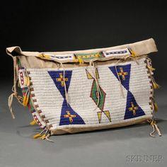 Lakota Beaded Buffalo Hide Possible Bag, c. last quarter 19th century