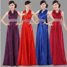 Evening Dresses 2016 Fashion Women Halter-neck Rhinestone Gold Satin Long Party dress Sexy Plus Size Dinner Gowm Prom Dresses