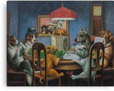 image via Johannes Grenzfurthner Dogs engage in a game of Dungeons & Dragons in Dogs Playing D&D, a painting by Johannes Grenzfurthner of Austrian art and tech group Monochrom, in collabora. Dungeons And Dragons Art, Advanced Dungeons And Dragons, Game Design, Dogs Playing Poker, Thing 1, Monochrom, Dog Paintings, Canvas Prints, Art Prints