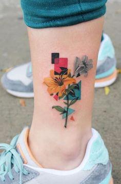 Beste bunte Tattoos für alle - Tattoo Trends and Lifestyle Leg Tattoos, Flower Tattoos, Body Art Tattoos, Small Tattoos, Girl Tattoos, Sleeve Tattoos, Tattoos For Women, Tattoos For Guys, Small Colorful Tattoos