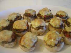 Stuffed-Mushrooms (without the ground beef though... maybe using the veggie crumbles?)
