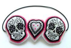 Day of the Dead Sugar Skull Headband Hair Band Rockabilly Tattoo Wedding