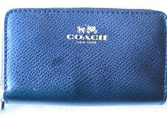 Coach Coin Purse Black Wallet Double Zip Ziparound Leather NWT 95.00!!