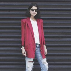 @leandramedine of @manrepeller, a queen of tucking! If you love this tucked look you'll love The Novice bodysuit- the perfect, basic tee in black or ivory.