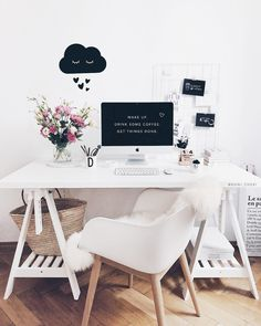 Home Office Scandinavian Ikea 61 Trendy Ideas Ikea Office Chair, White Desk Office, White Desks, White Desk With Chair, White Desk Chair Ikea, White Desk Decor, Home Desk, Home Office Furniture, Home Office Decor