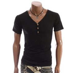 Doublju Mens Casual Y-neck T-shirts Tee(DT08)