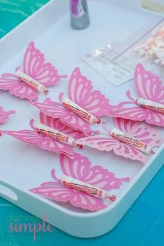 20 Perfect Princess Party Ideas for kids - MatchingLook - Mom & Daughter Matching Outfits, Maternity Clothes - 20 Perfect Princess Party Ideas for kids Fairy Princess Birthday Party Favors--Butterflies More - Butterfly Birthday Party, Fairy Birthday Party, Birthday Party Favors, Girl Birthday, Birthday Parties, Birthday Ideas, Butterfly Party Favors, Butterfly Party Decorations, Princess Birthday Party Decorations