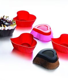 Siliconezone Heart Muffin Cups - bake or freeze adorable heart-shaped treats for Valentine's Day in nonstick silicone cups.