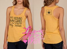 My husband  My hero eco racer back tank top by Loveandwarco, $24.00