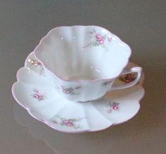 """Vintage Shelley England """"Bridal Rose"""" 13545 Fine Bone China Cup & Saucer Set"""