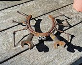 Horseshoe crab steel yard art.