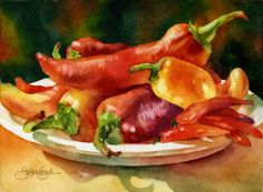 susan crouch art | watercolor: Red Hot Chile Peppers - Susan Crouch | Art