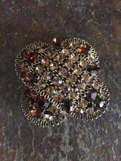 Vintage LISNER Mid Century Topaz Crystal Brooch Pin | eBay