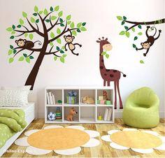 Monkey Tree Jungle Nursery Wall Art Stickers Decals Giraffe Childrens Bedroom UK