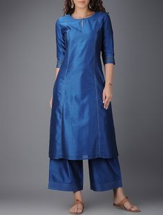 Product Features: Color: Blue Bottom Color: Blue Fabric: Chanderi Bottom Fabric: Chanderi Inner Fabric: Yes Bottom Style: Plazzo Product Type: Kurti Set Disclaimer: It is Made to order/Custom made products and cannot be exchanged or returned. Silk Kurti Designs, Churidar Designs, Kurta Designs Women, Kurti Designs Party Wear, Neck Designs For Suits, Dress Neck Designs, Blouse Designs, Kurta Patterns, Kurti Neck Pattern