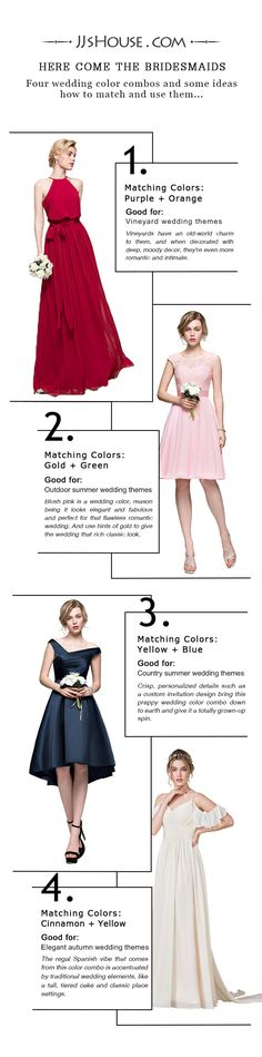 Four wedding color combos and some bridesmaid dresses to match your wedding. Just for your choice~~#JJsHouse