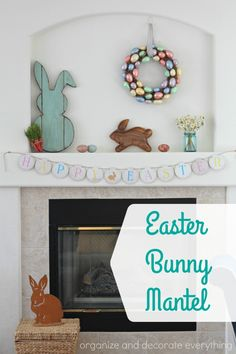 Lovely Minimalist Easter Mantel Decors With Welcome Spring Classic White Frame Engraved Chalkboard Light Blue Grapevine Wreath With Rolled Toile Fau2026