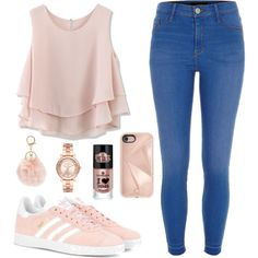 A fashion look from January 2017 featuring Chicwish tops, River Island and adidas Originals sneakers. Browse and shop related looks.
