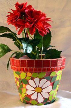 Green and Red colorful Plant pot Height 15 cm