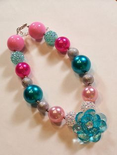 Flower Fantasy Girls Chunky Big Bold Beads Necklace