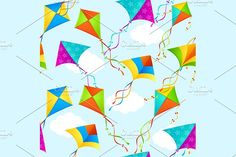 Kite Background Pattern. Vector Graphics Kite Background Pattern Seamless on Sky. Vector illustration. EPS and high resolution JPG in ZIP. by Stacy