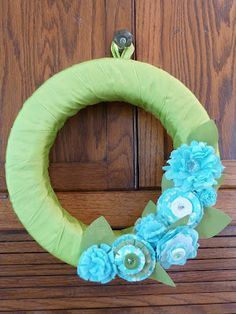 Wreath with fabric using #sizzix flower die @Sizzix Ellison get the flower dies @ohmycrafts.com   http://www.ohmycrafts.com/search.aspx?find=flower+dies=false=226  Eileen Hull