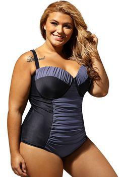 Maillot de Bain Armatures Grande Taille 1 Piece Noir Gris Bloc de Couleur Ruché Pas Cher www.modebuy.com @Modebuy #Modebuy #Noir #Gris #Noir #Grande