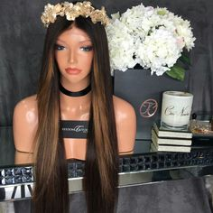 Highlight Silky Straight Brazilian Virgin Hair Full Lace Human Hair Wig Soft And Thick Glueless Lace Front Wigs For Black Women Goddess Hairstyles, Dope Hairstyles, Human Lace Front Wigs, Best Human Hair Wigs, Beautiful Long Hair, Amazing Hair, Hair Laid, One Hair, Light Hair
