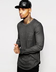 Image 1 ofASOS Longline Long Sleeve T-Shirt In Rib Fabric And Oil Wash
