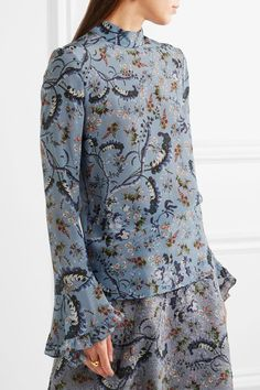 Multicolored silk crepe de chine Button-fastening keyhole at back 100% silk Dry clean Designer color: Paisley Vine