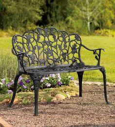Plow & Hearth Grape Vine Design Two-Seat Garden Bench - Powder Coated Cast Aluminum, in Black Plow & Hearth