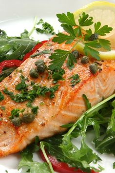 on the grill...Salmon with Lemon. Capers. and Rosemary Recipe
