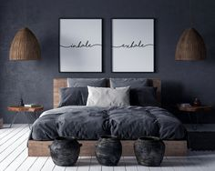 Inhale Exhale Print Wall Art Inhale Exhale Pilates Gifts Set of 2 Prints Relaxation Print Inhale Exhale Signs Yoga Poster Gray Bedroom Walls, Room Ideas Bedroom, Home Decor Bedroom, Dark Gray Bedroom, Monochrome Bedroom, Navy Blue Bedrooms, Industrial Bedroom Decor, Charcoal Bedroom, Grey Brown Bedrooms