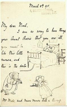 Previous pinner says: Beatrix Potter  The best get-well note ever! (A postcard I bought many years ago.)