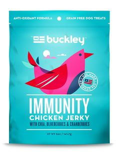 If you're looking for a healthy, meat based jerky treats for your dog, you've come to the right place! Buckley's Immunity Jerky helps to support a healthy immune system with antioxidant rich chia, blueberries and cranberries.At Buckley we believe best is better and less is more. You'll see that our ingredient panels are short and easy to read because we don't use any fillers or junk. Our jerky is crunchy for for your dog's teeth and easily broken for portion control. Recommended for:Older…