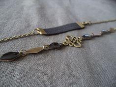 Headband bijou de tête bronze avec estampe bronze et sequins losanges émaillés noirs et bronze : Autres bijoux par plumecreative
