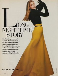 """Long Nighttime Story"", Harper's Bazaar US, July 1988  Model : Cindy Crawford  Makeup : Fran Cooper for Helen Lee Skin Care Salon, NYC  Hair : Alex Hilliard for Glemby Salon"