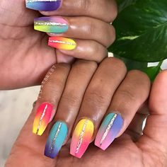 Matte Rainbow Coffin Nails with Glitter
