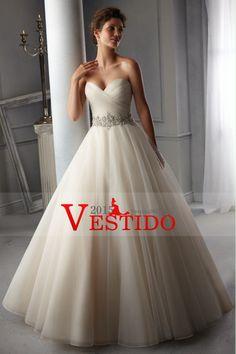2014 cariño blusa plisada Un vestido de línea de la boda con cuentas cintura de organza de cola de la corte