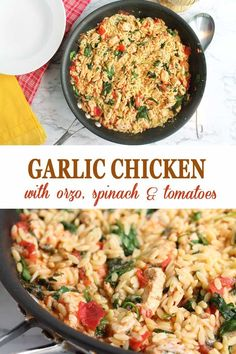 Garlic Chicken with Orzo is a quick and easy dinner, made all in one skillet, and ready in 30 minutes. Garlic Chicken with Orzo is a quick and easy dinner, made all in one skillet, and ready in 30 minutes. Orzo Recipes, Chicken Recipes, Dinner Recipes, Cooking Recipes, Healthy Recipes, Easy Dinner Meals, Dinner Ideas, Top Recipes, Garlic Chicken