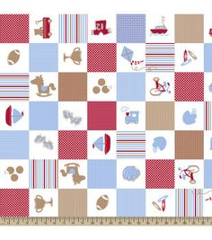 Snuggle Flannel Fabric- Baby Boy Patch Blue