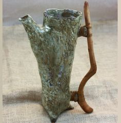 Ceramic Pitcher. Stoneware Tree Trunk Pitcher wtih Wooden Handle.  Nature Inspired  Pitcher.