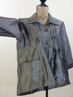 ART TO WEAR Lagenlook Connies Moonlight jacket artsy top gray upscale sz M #Moonlight #BasicJacket #Formal