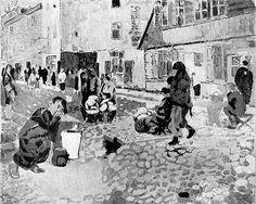 Shoah - The Holocaust ~ Ghetto Market, Lodz. Szymon Szerman (1917-1942?; perished with his family in the Lodz Ghetto)