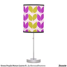 Green Purple Nature Leaves Pattern Table Lamp