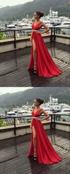 red Prom Dresses,v-neck prom dress,side slit prom Dress,long prom dress,charming evening gown M2028#prom #promdress #promdresses #longpromdress #2018newfashion #newstyle #promgown #promgowns #formaldress #eveningdress #eveninggown #2019newpromdress #partydress #meetbeauty #twopiece #aline #red #vneck #sideslit #charmingdress