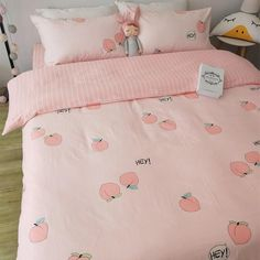 Vintage Bedroom Sweet Peach Bedding Set - Sweet Peach Bedding Set ●Size:tips Bed sheet Quiltcover Pillowcase Bed sheet Quiltcover Pillowcase Bed sheet Quiltcover Pi Bedding Master Bedroom, Girls Bedroom, Bedroom Decor, Trendy Bedroom, Bedrooms, Dream Rooms, Dream Bedroom, Peach Rooms, Peach Bedroom
