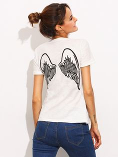 White Wing Print Short Sleeve T-shirt — 0.00 € ------------------color: White size: L,M,S,XS