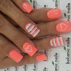 Coral nails with hearts  striped standout nail - like the contrasting grey used...x